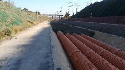 Continúan a buen ritmo las obras en la Trinchera del PK 135 Cártama L.A.V Córdoba-Málaga